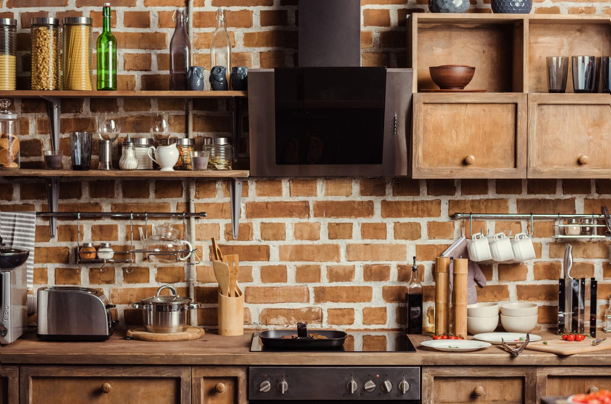 Modern kitchen interior with utensils and kitchen appliances