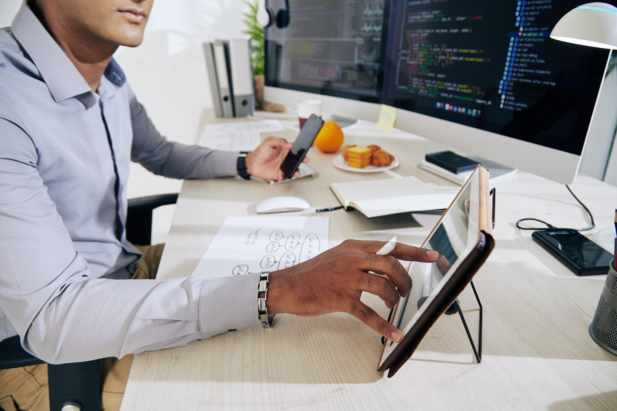 Software developer checking data