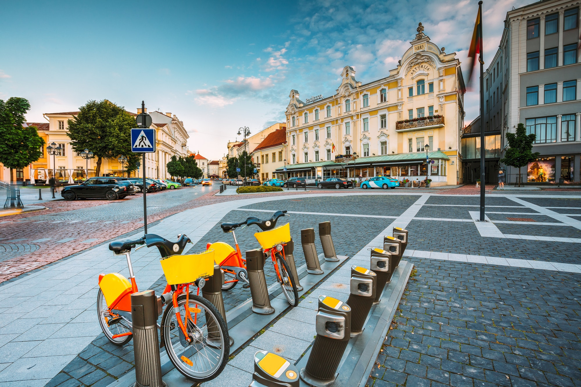 Vilnius Lithuania. Two Bicycles For Rent At Municipal Parking On