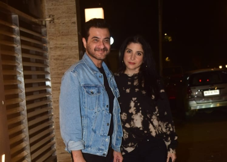 Actor Sanjay Kapoor and his wife Maheep Kapoor see at talent management company, Cornerstone Sport & Entertainment Bunty Sajdeh's Bandra residence in Mumbai