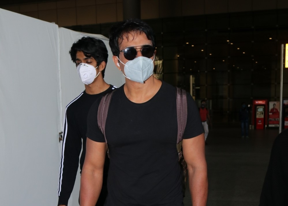 Actor Sonu Sood seen at the Chhatrapati Shivaji Maharaj International Airport in Mumbai