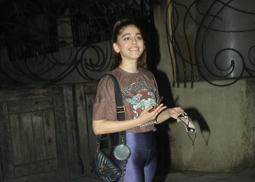 Actress Alaya Furniturewalla seen at Juhu in Mumbai