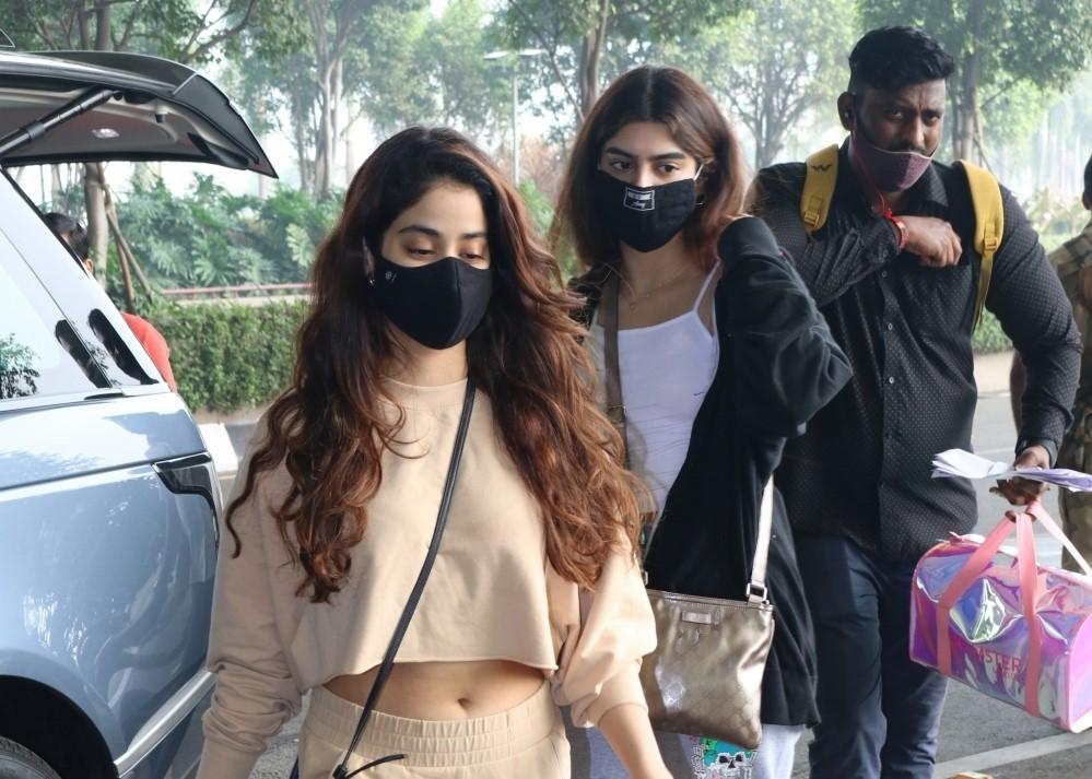 Actress Janhvi Kapoor and her sister Khushi Kapoor seen at the Chhatrapati Shivaji Maharaj International Airport in Mumbai