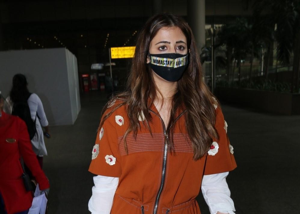 Actress Kriti Sanon's sister Nupur Sanon seen at the Chhatrapati Shivaji Maharaj International Airport in Mumbai