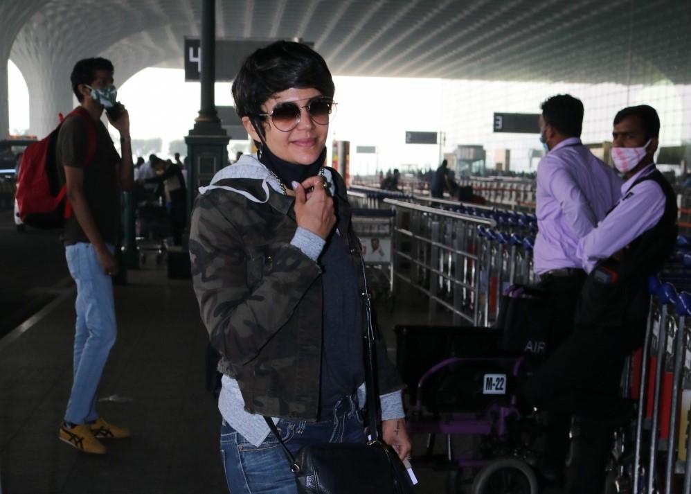 Actress Mandira Bedi seen at the Chhatrapati Shivaji Maharaj International Airport in Mumbai