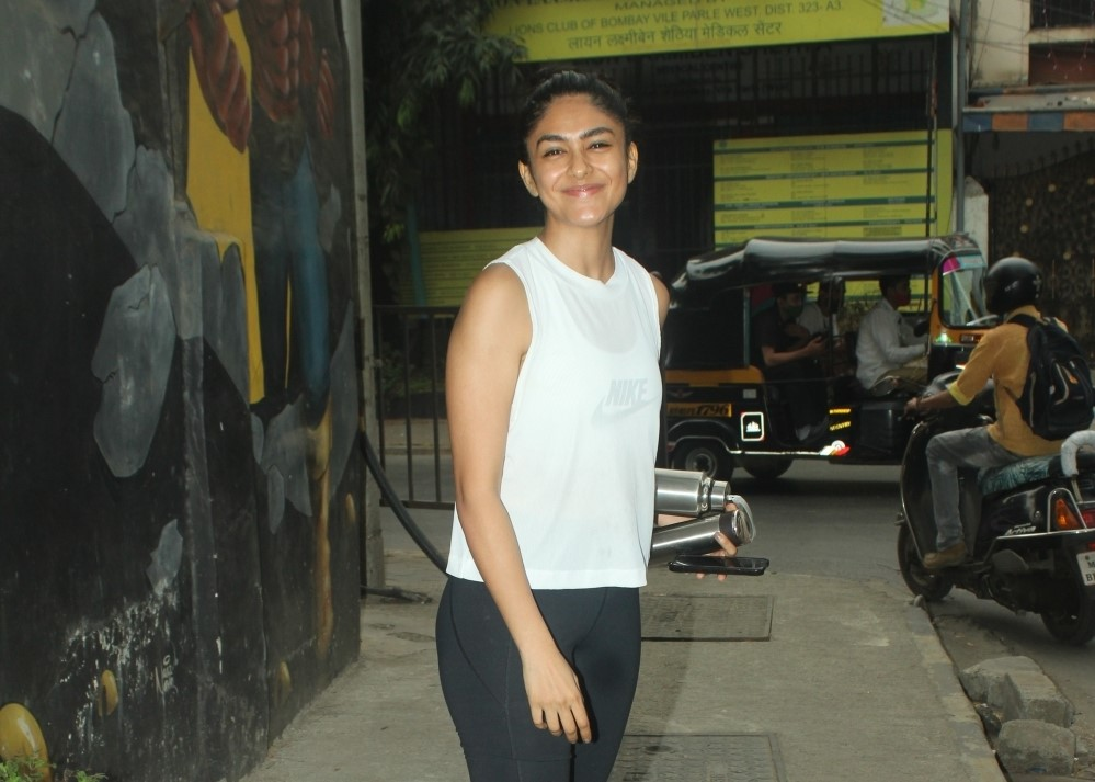 Actress Mrunal Thakur seen at a gym in kalina