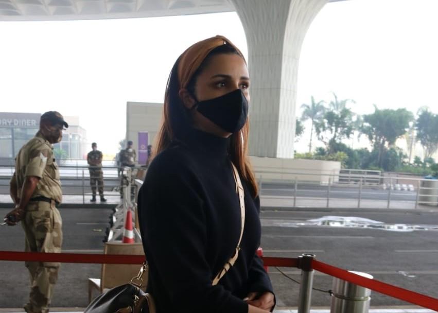 Actress Parineeti Chopra seen at the Chhatrapati Shivaji Maharaj International Airport in Mumbai