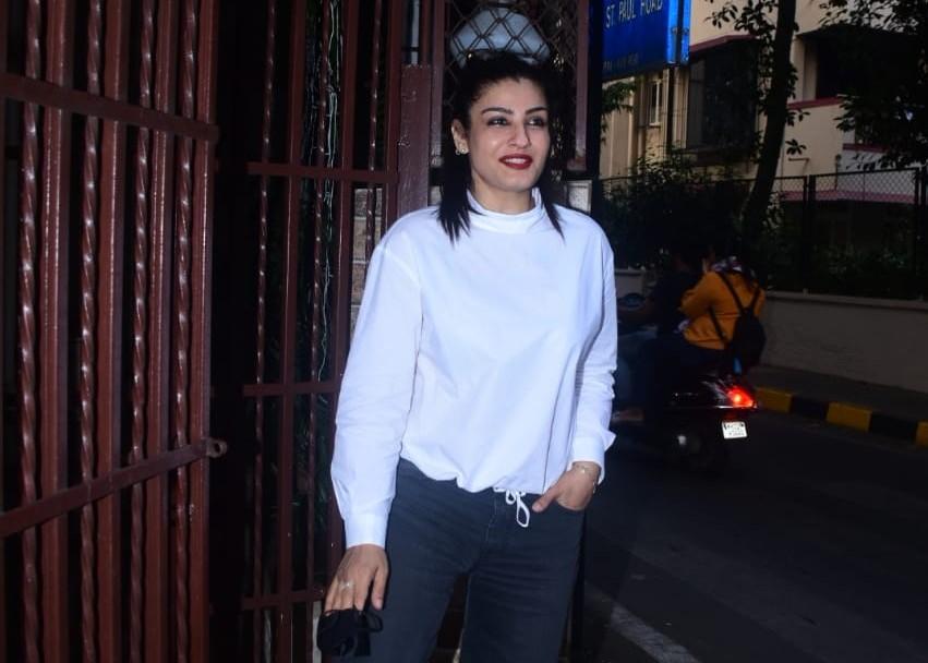 Actress Raveena Tandon seen at Bandra in Mumbai