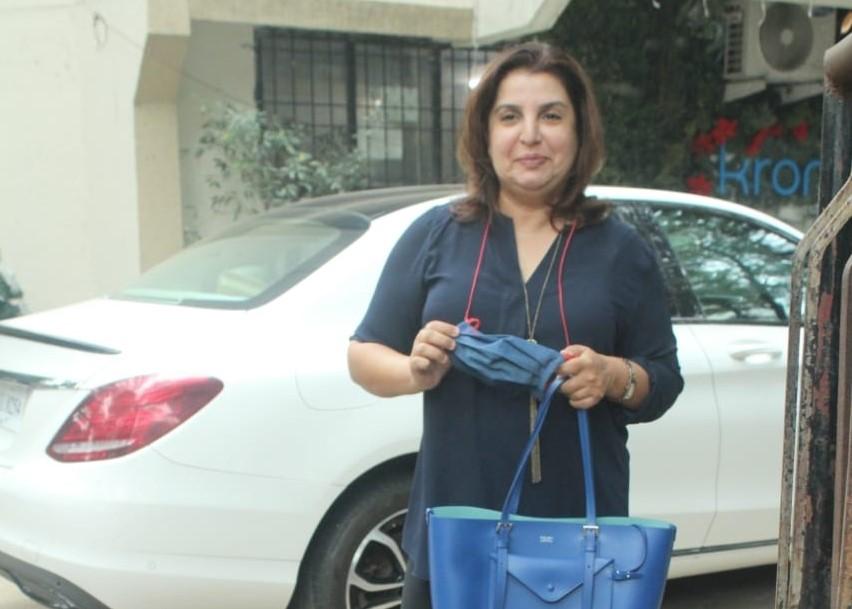 Filmmaker Farah Khan seen at Juhu in Mumbai