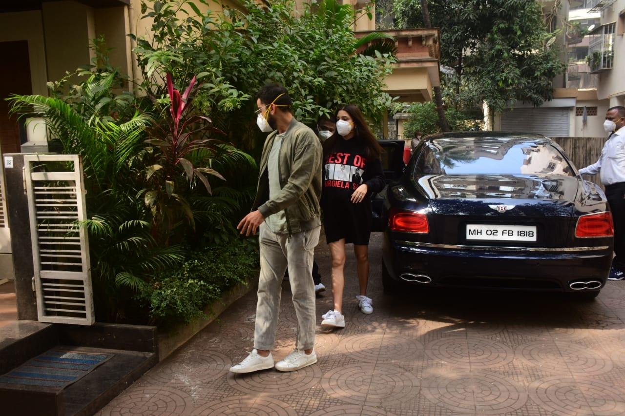 Indian skipper Virat Kohli and his actress wife Anushka Sharma seen at a Bandra clinic, in Mumbai