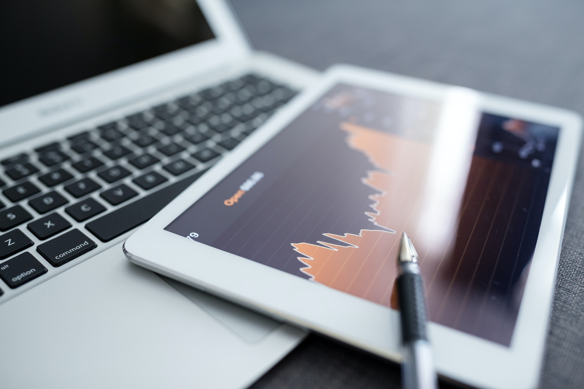 Stock market trading on a tablet computer