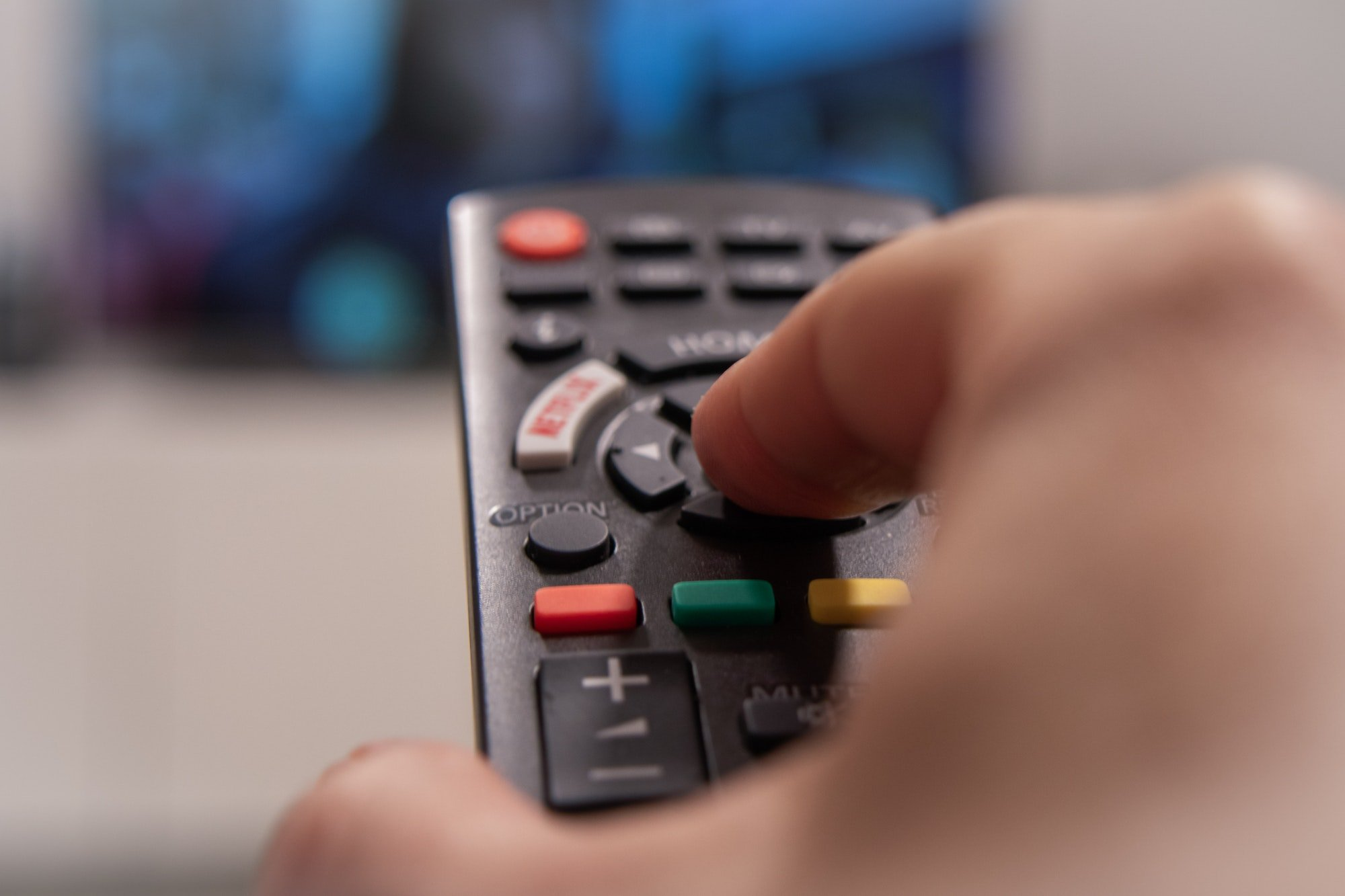 TV remote control, switches channels