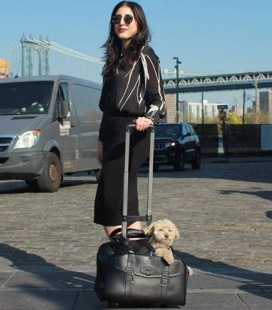 a woman holding a black wheeled pet carrier
