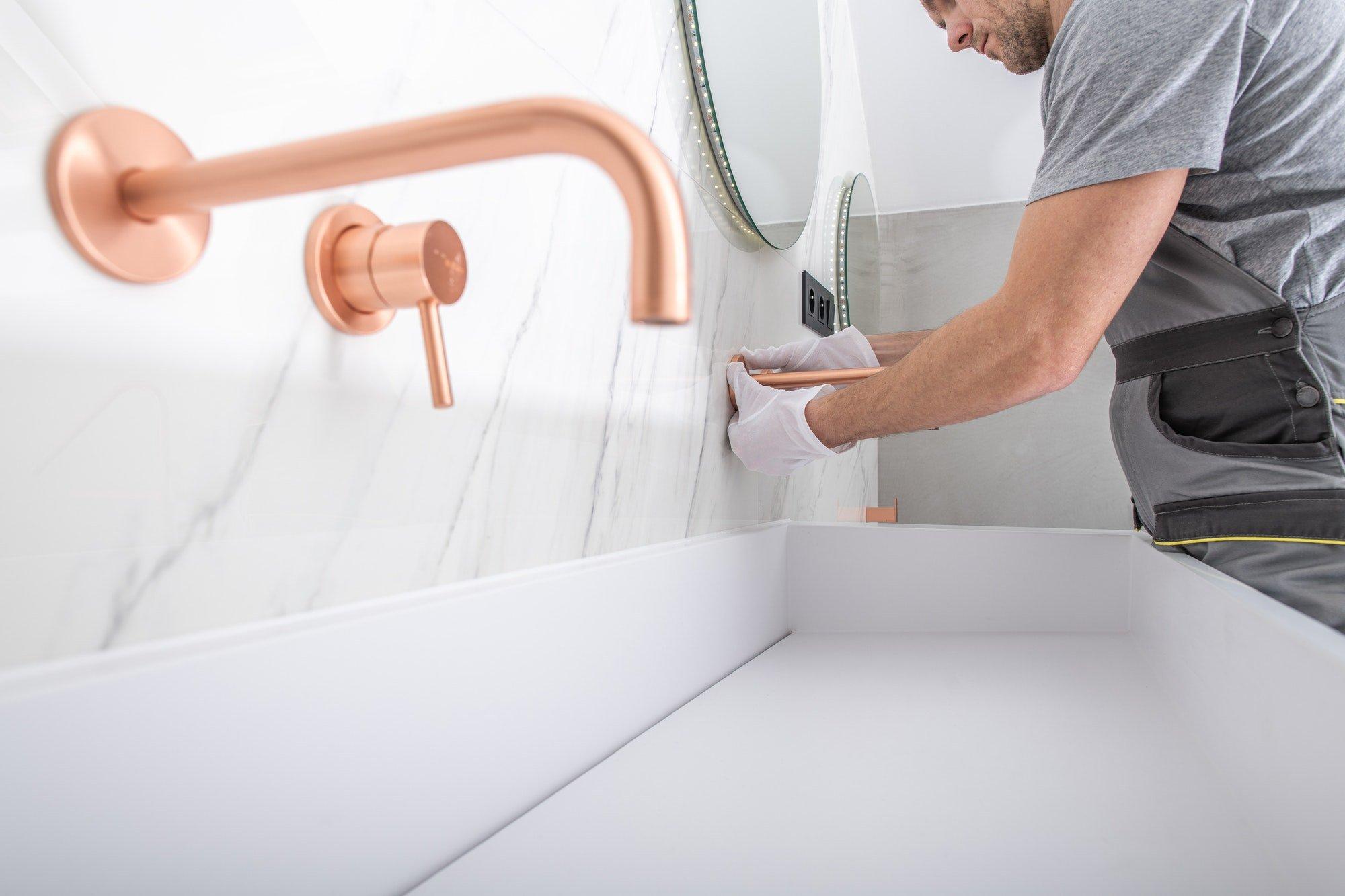 Copper Bathroom Facuet Installation By Handyman.
