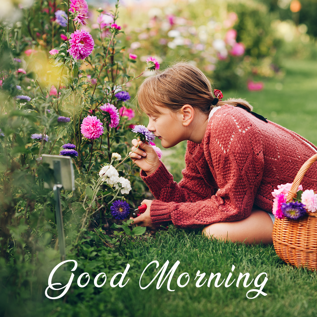 good morning girl with a flower