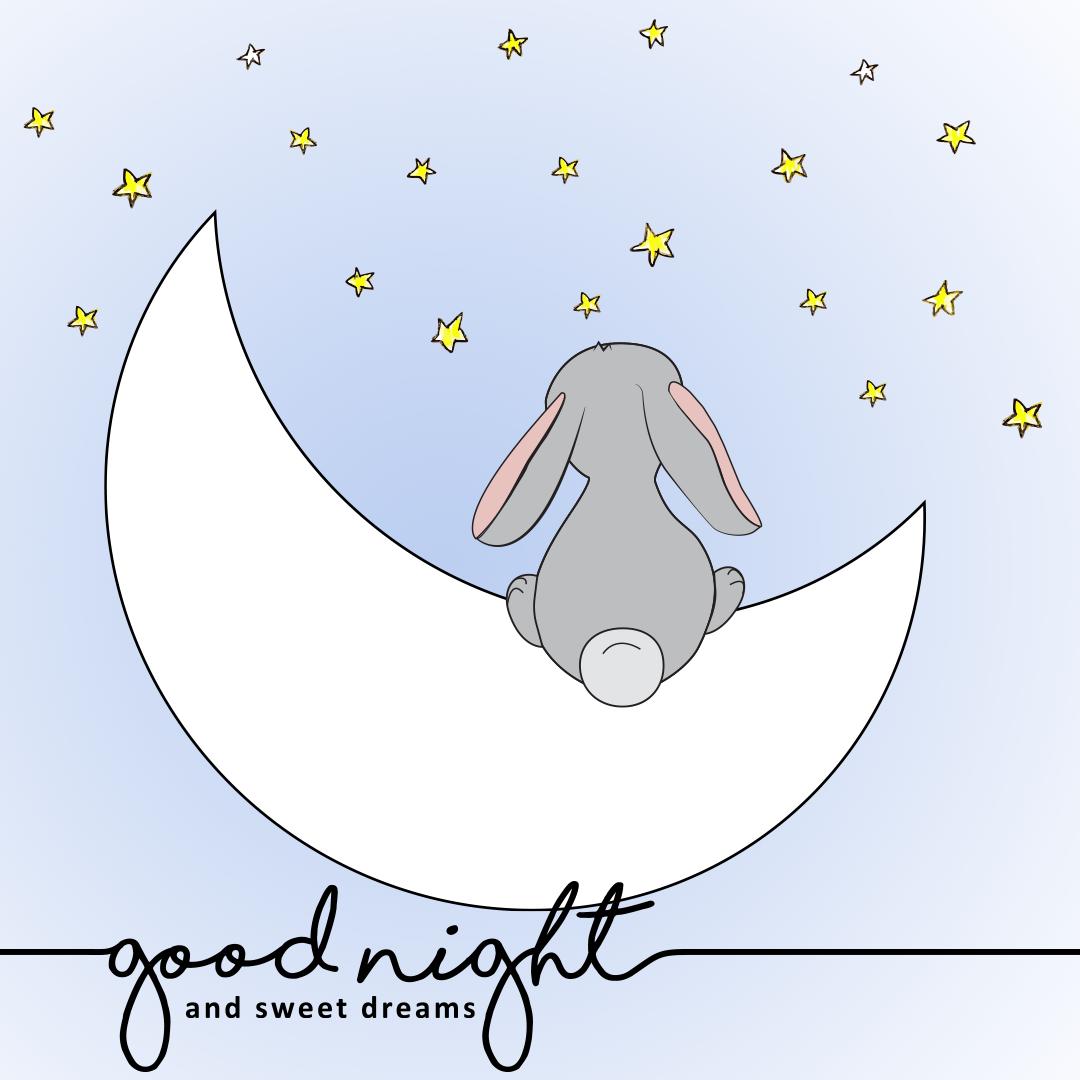 Good Night Bunny On Moon Looking Stars