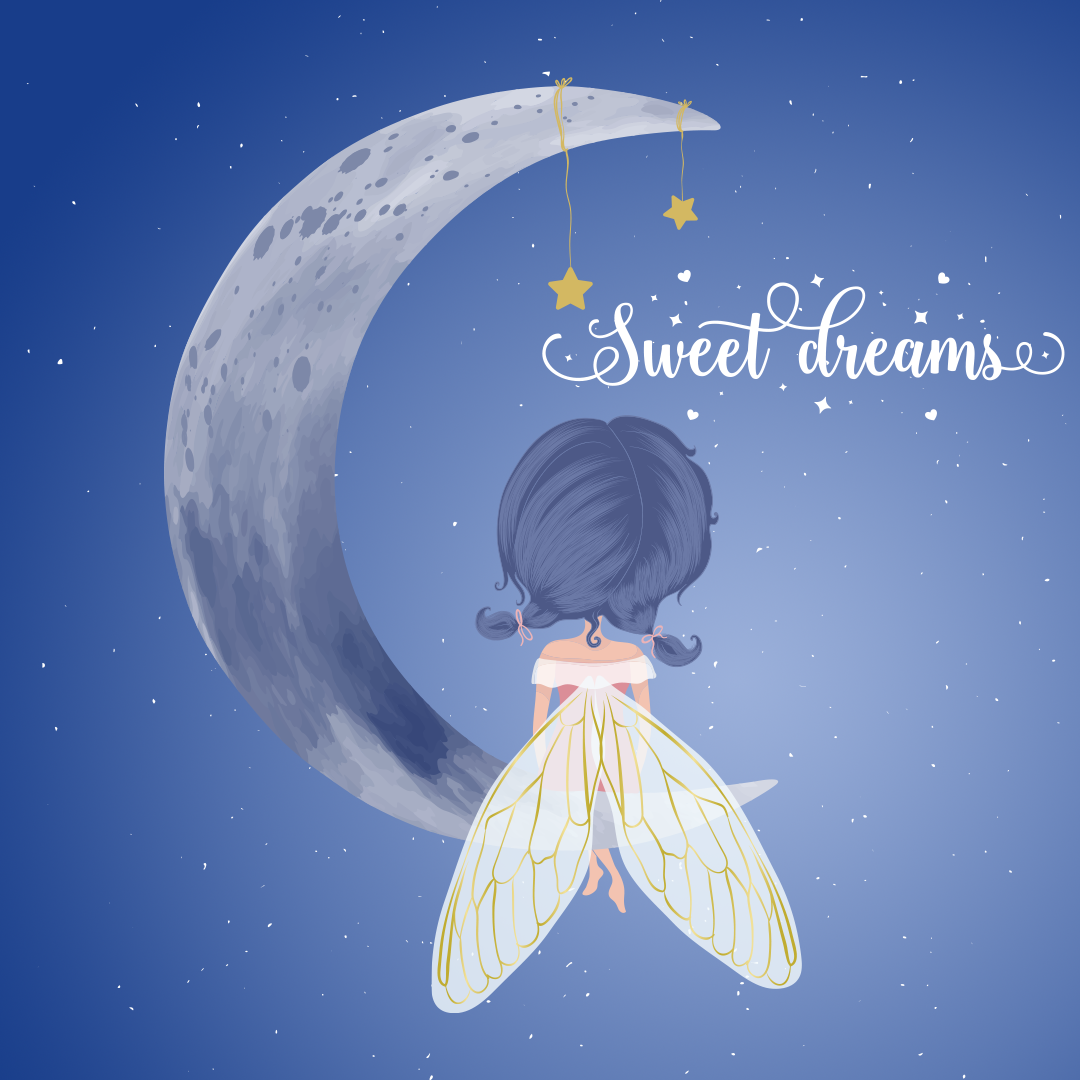 Good Night Sweet Dreams Angel Sitting On Moon