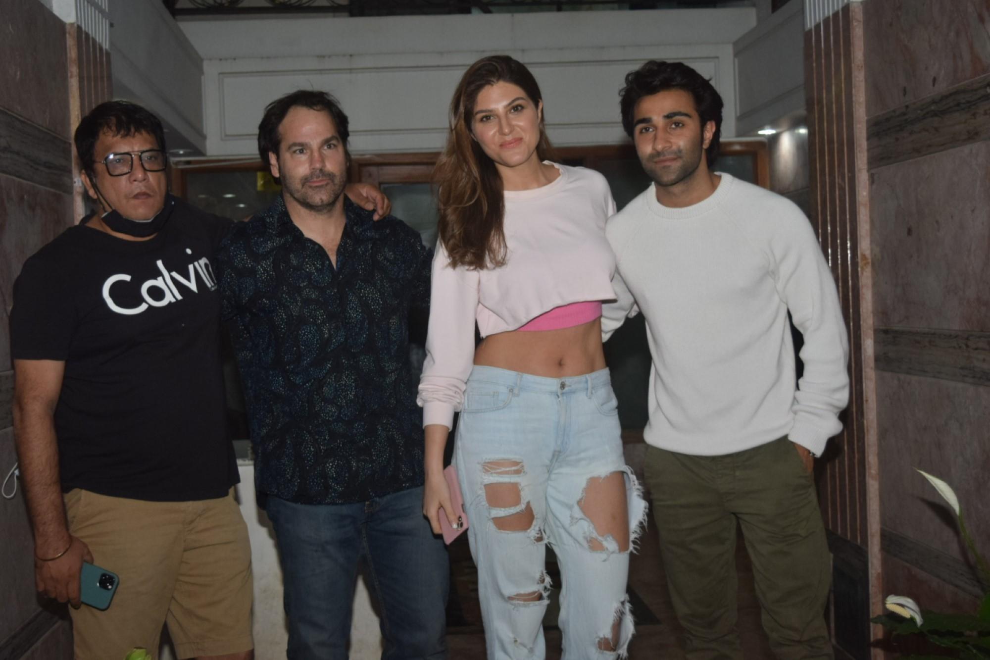 Hello Charlie Cast Aadar Jain, Shlokka Pandit, Elnaaz Noorani & Director Pankaj Saraswat Spotted at Excel Entertainment Office