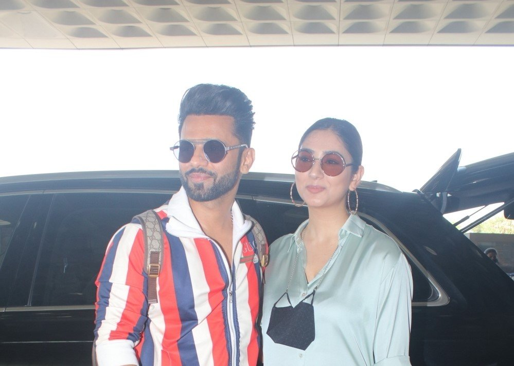 Rahul Vaidya with girl friend Disha Parmar spotted at airport departure.