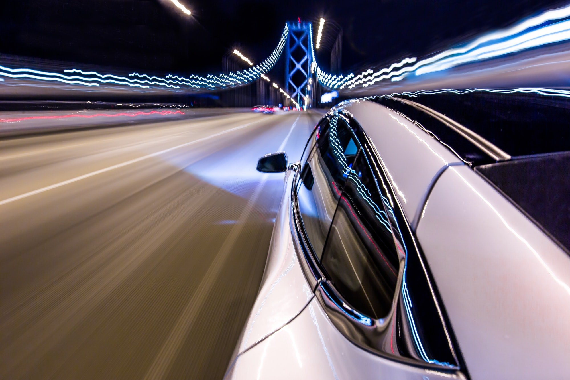Driving a Tesla over the San Francisco Bay Bridge