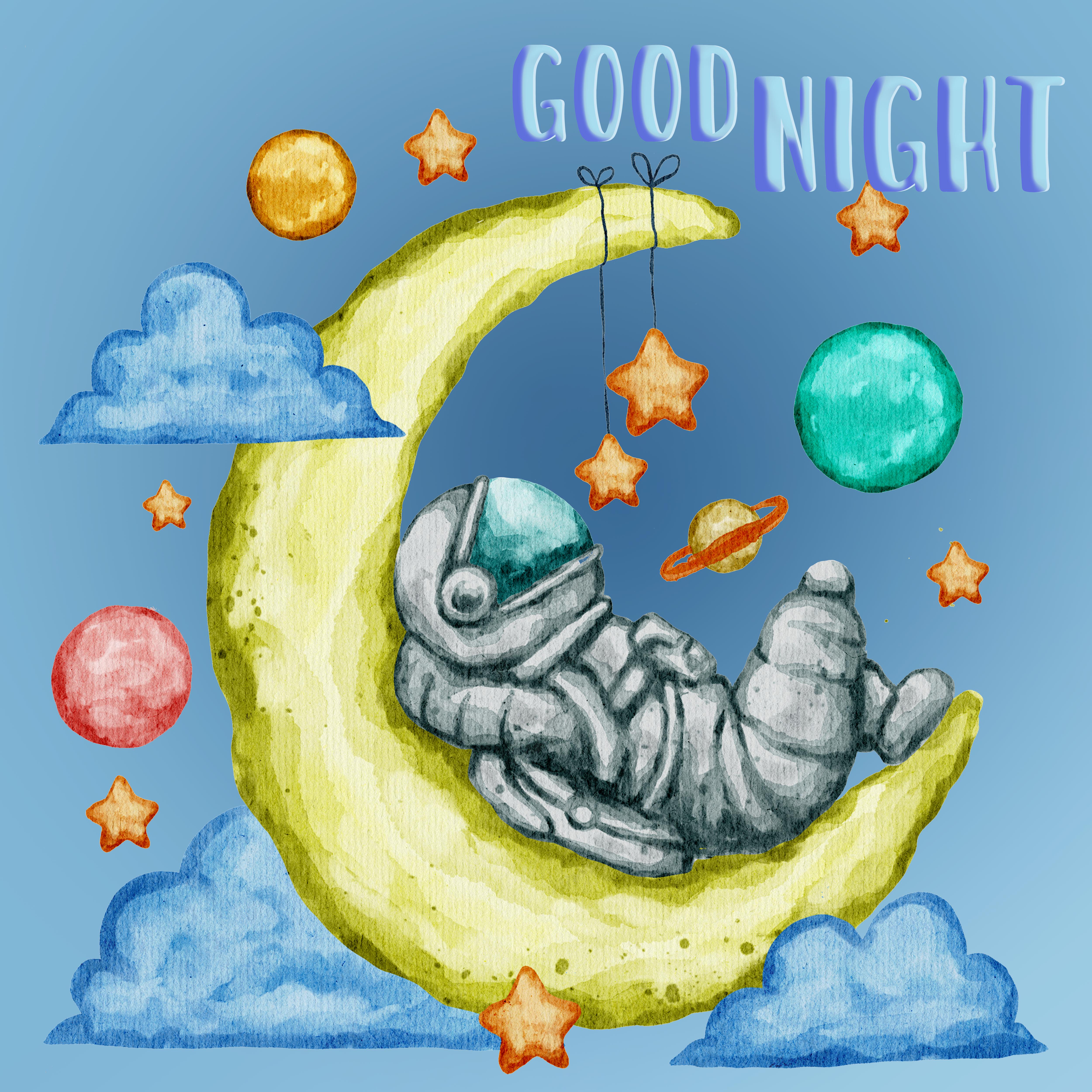 Good Night, Astronaut Sleeping On Moon