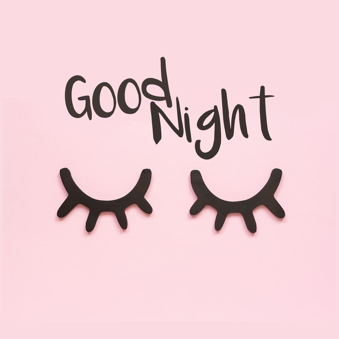 Good Night Closed Eyelashes On Pink Background