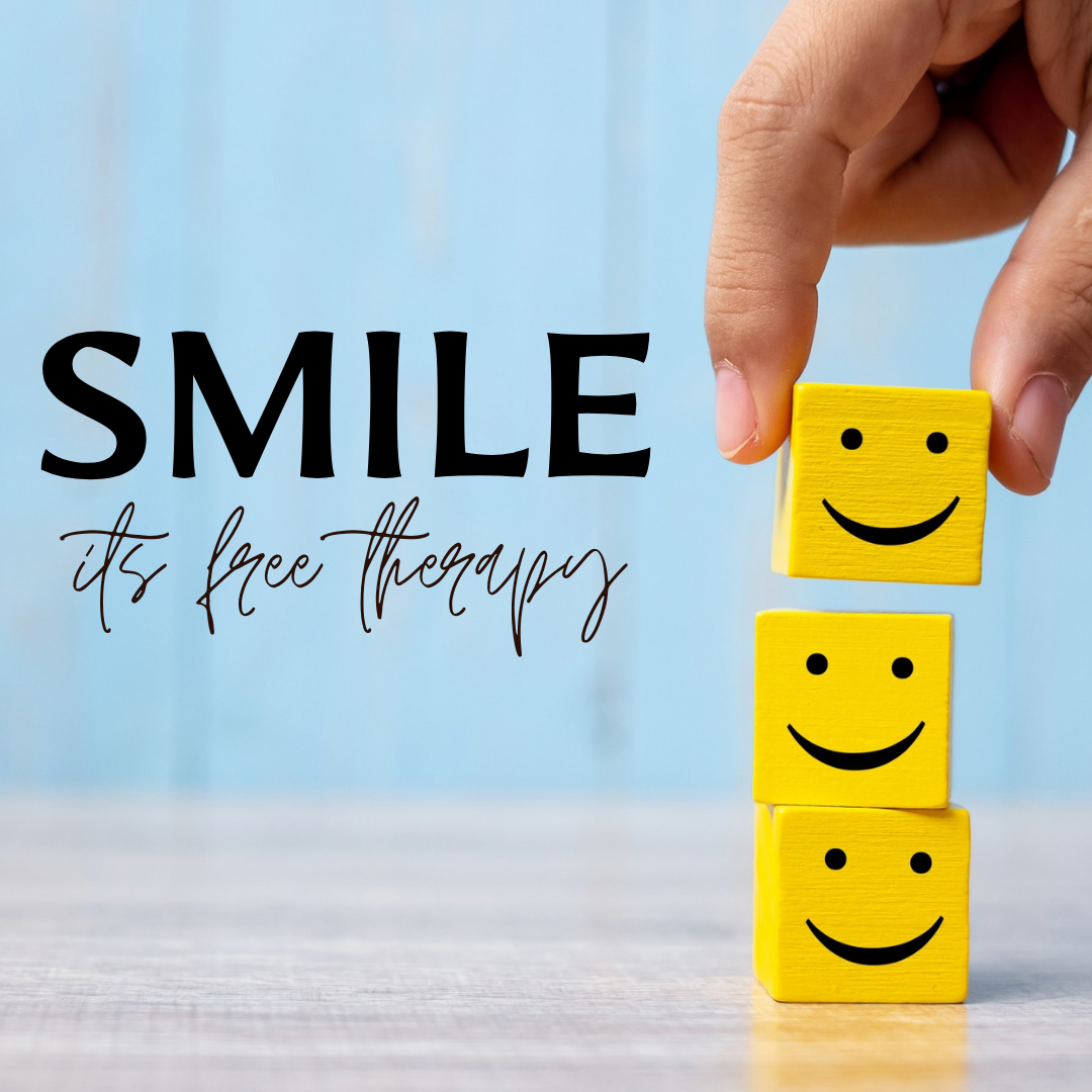 Smile Its Free Therapy...Person Placing Blocks Of Smiley Face