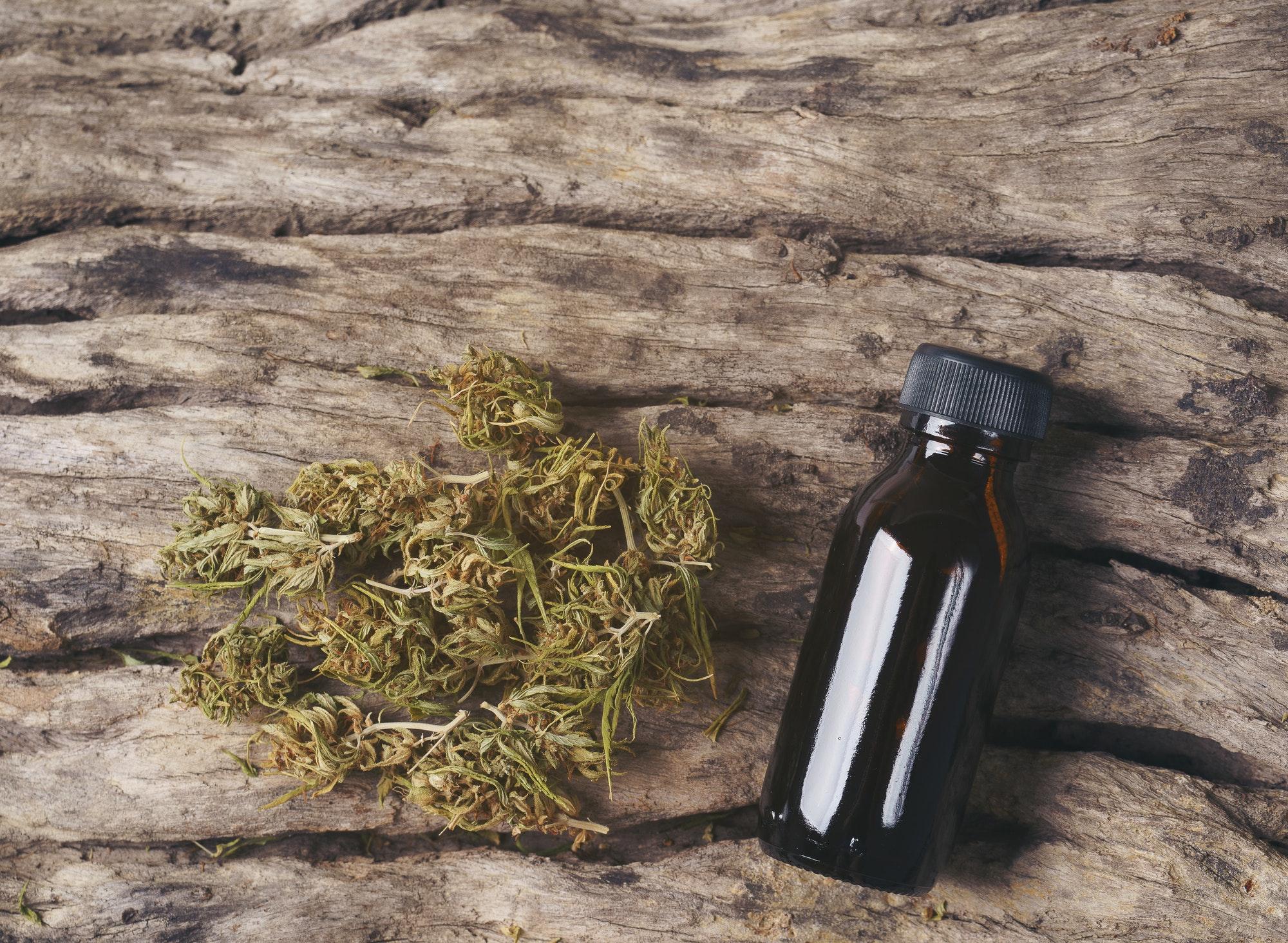 dried medical marijuana with CBD and THC extract